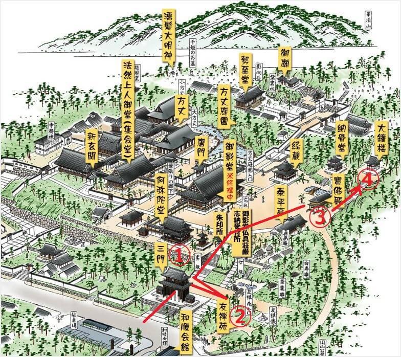 知恩院 ライトアップ 紅葉 境内地図