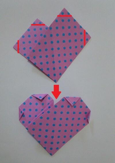 ハート 折り紙 折り方8-1